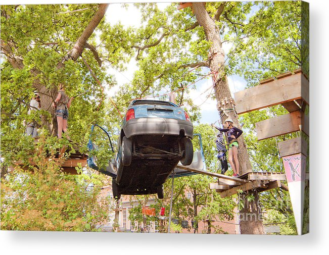 Trees Acrylic Print featuring the photograph car by Romeo Lombardi