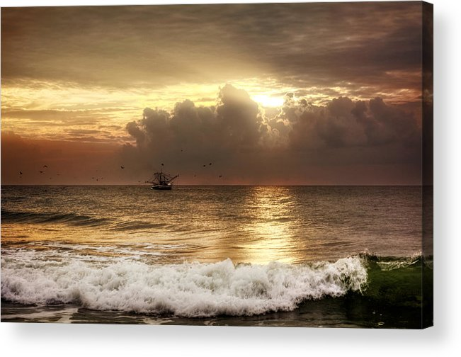 Beach Acrylic Print featuring the photograph Carolina Beach Shrimp Boat At Sunrise by Chrystal Mimbs