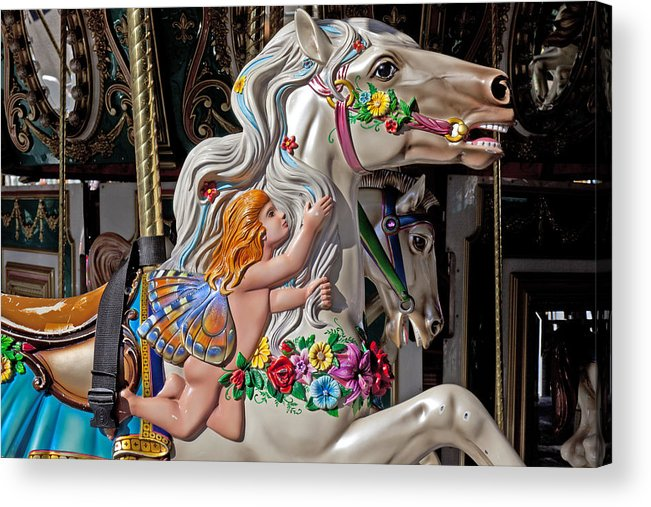 Carousel Acrylic Print featuring the photograph Carousel Horse And Angel by Garry Gay