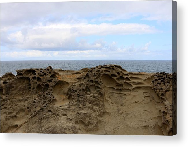 Oregon Acrylic Print featuring the photograph Carved Sandstone Along The Oregon Coast - 6 by Christy Pooschke