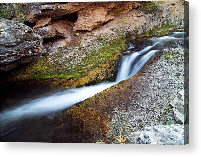 Crazy Woman Creek Acrylic Print featuring the photograph Cascade On Crazy Woman Creek by Larry Ricker