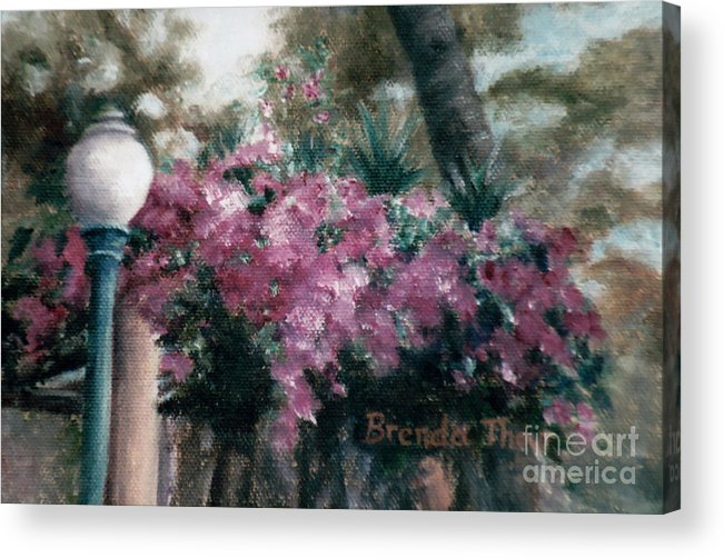 Flowers Acrylic Print featuring the painting Cascading Flowers by Brenda Thour