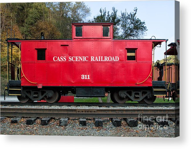 Antiquated Acrylic Print featuring the photograph Cass Red Caboose by Jerry Fornarotto