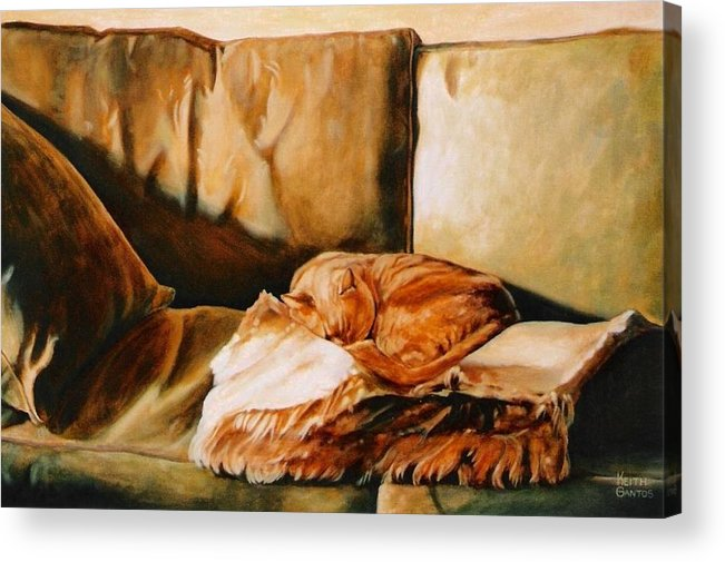 Cat Acrylic Print featuring the painting Catnap by Keith Gantos