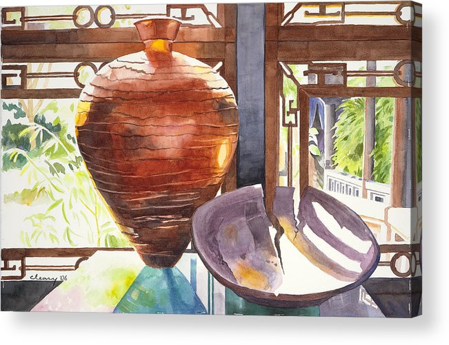 Still Life Acrylic Print featuring the painting Celestial Hall Pottery I by Melody Cleary