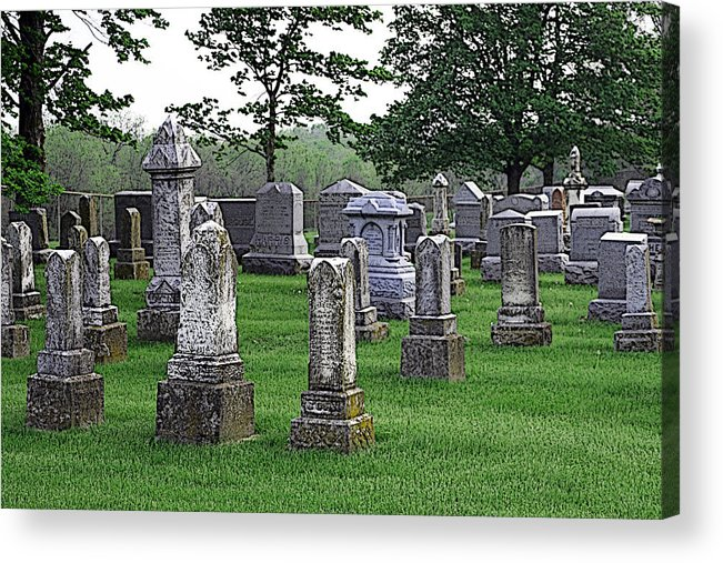 Cemetery Acrylic Print featuring the photograph Cemetery Grunge by Carl Perry