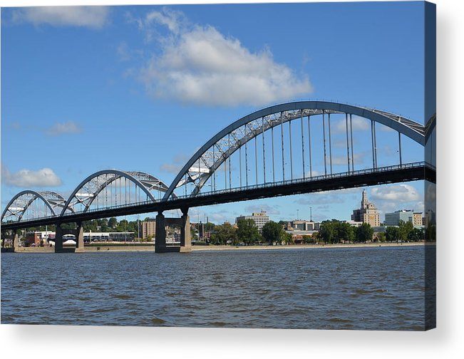 Rock Island Centennial Bridge Acrylic Print featuring the photograph Centennial Spans by Tammy Mutka