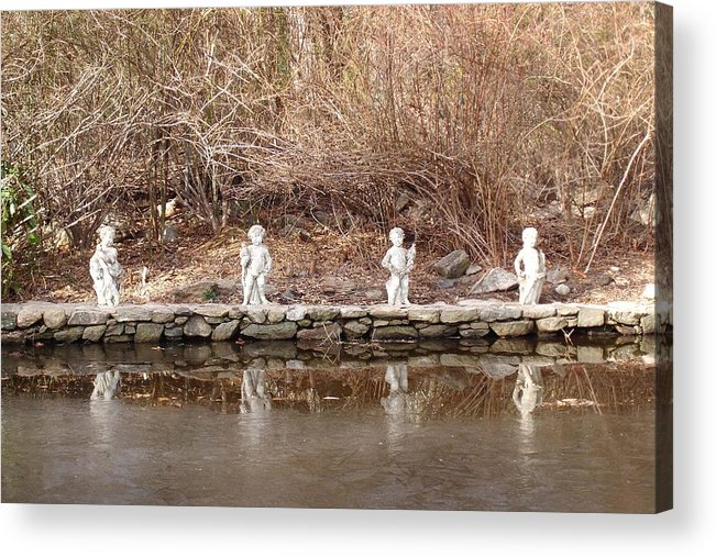 Photograph Acrylic Print featuring the photograph Cerubs On Icy Pond by Susan Grissom