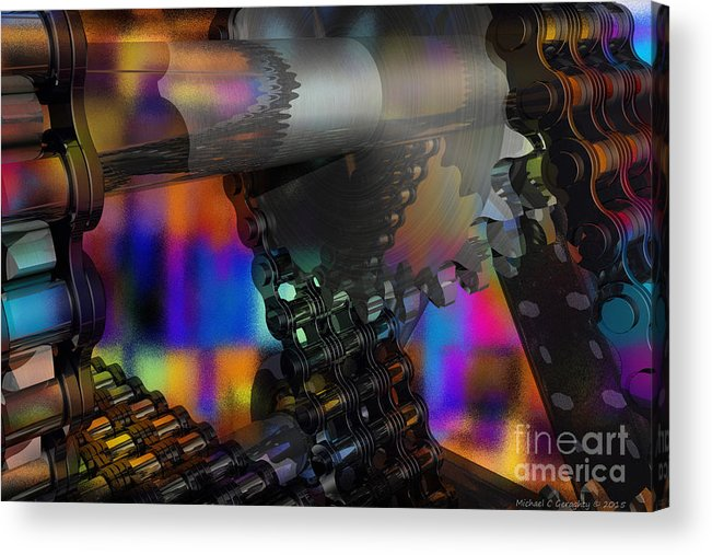 Chain Link Acrylic Print featuring the digital art Chain And Sprockets - Amcg - Macro 13 30 X 20 by Michael Geraghty