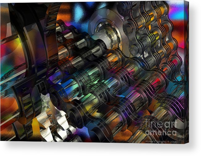 Chain Link Acrylic Print featuring the digital art Chain And Sprockets - Amcg - Macro 16 30 X 20 by Michael Geraghty