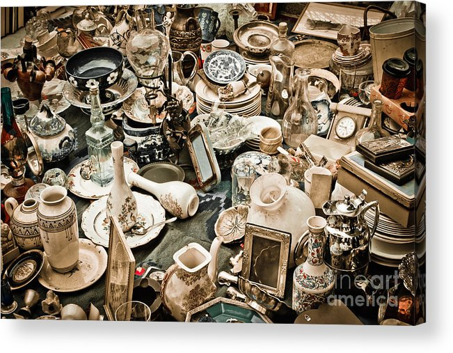 Old; Antique; Vintage; Retro; Background; Style; Art; Decor; Decorating; Decoration; Grunge; Antiquities; Object; Old-fashioned; Classic; Collection; Valuable; Junk; Together; Gathered; Acrylic Print featuring the photograph Chaos by Gabriela Insuratelu