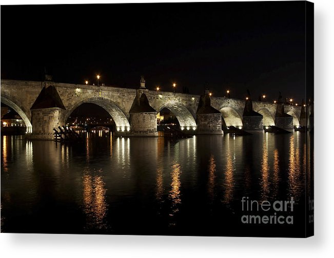 Bridge Acrylic Print featuring the photograph Charles Bridge At Night by Michal Boubin