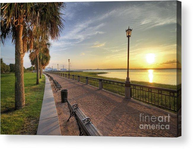 Charleston Acrylic Print featuring the photograph Charleston Sc Waterfront Park Sunrise by Dustin K Ryan
