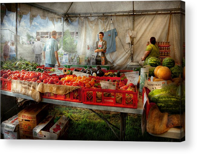 Chef Acrylic Print featuring the photograph Chef - Vegetable - Jersey Fresh Farmers Market by Mike Savad