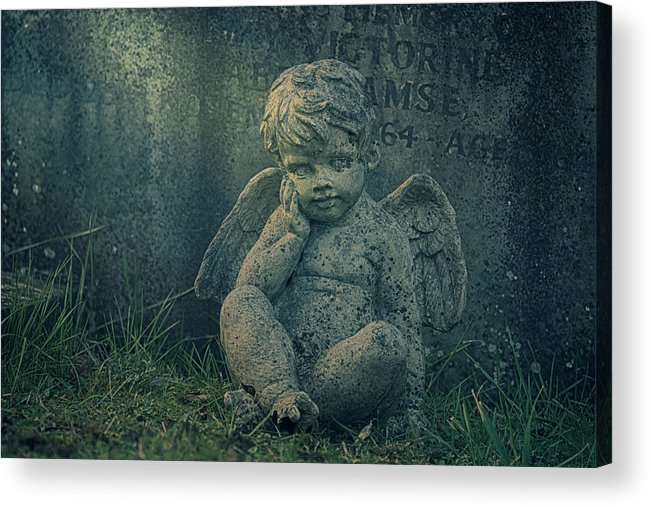 Anglican Acrylic Print featuring the photograph Cherub Lost In Thoughts by Monika Tymanowska
