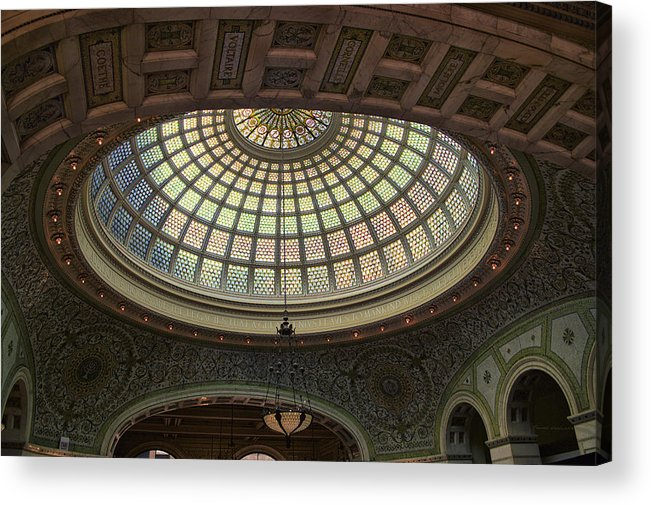Chicago Cultural Center Acrylic Print featuring the photograph Chicago Cultural Center Tiffany Dome 01 by Thomas Woolworth