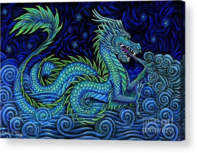 Chinese Dragon Acrylic Print featuring the drawing Chinese Azure Dragon by Rebecca Wang