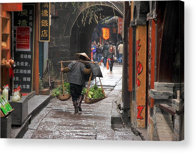 Asian Acrylic Print featuring the photograph Chinese Woman Carrying Vegetables by Valentino Visentini