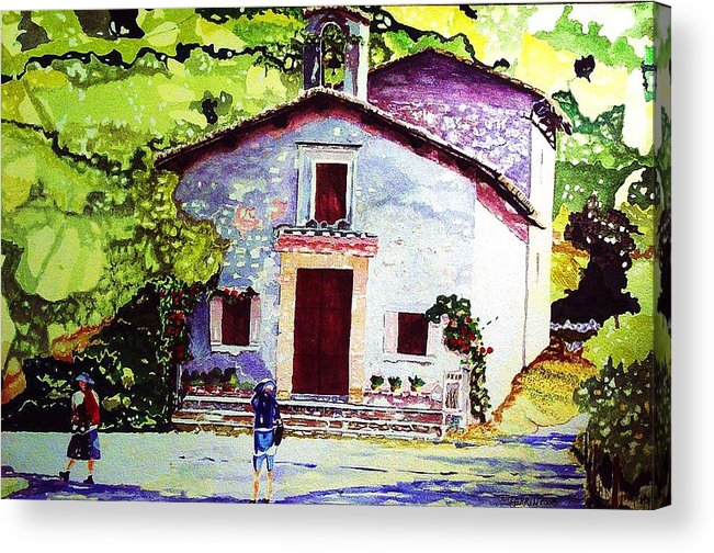 Italy Acrylic Print featuring the painting Church Of The Roses Italy by Tom Herrin