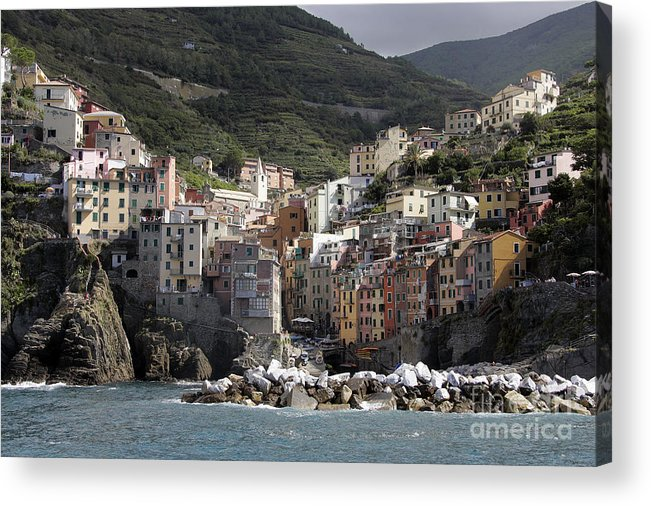 Italy Acrylic Print featuring the photograph Cinqueterre From The Sea by Stan and Anne Foster