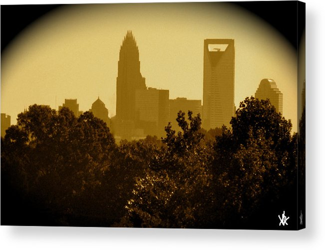 Pass The Forest Acrylic Print featuring the digital art City Glow by Debra   Vatalaro