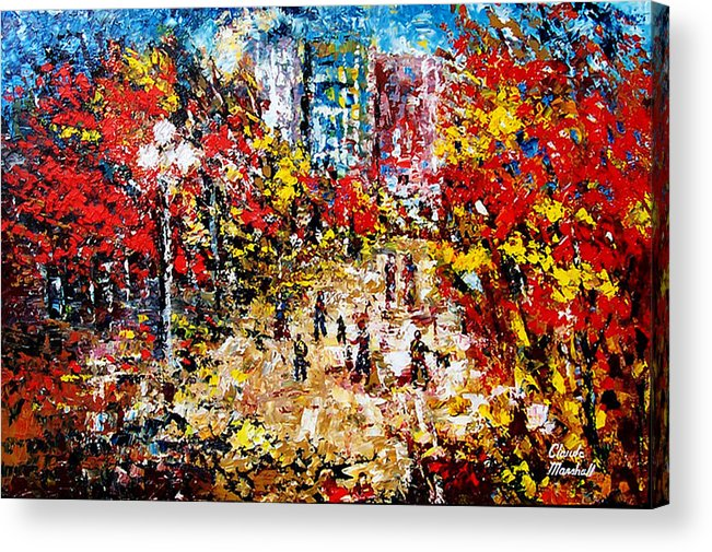 Abstract Acrylic Print featuring the painting City Park by Claude Marshall