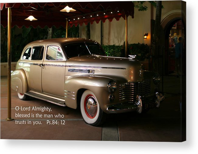 Scripture Acrylic Print featuring the photograph Classic Car Psalm Eighty Four Vs Tweleve by Linda Phelps