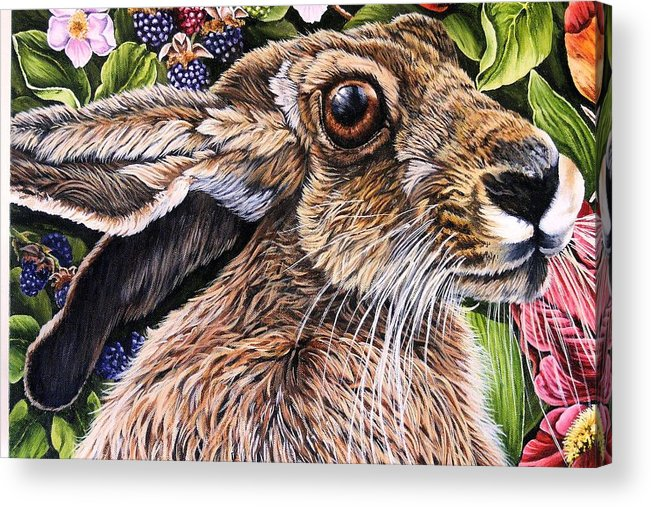 Hare Acrylic Print featuring the painting Close Up Detail From Painting Celibration by Donald Dean