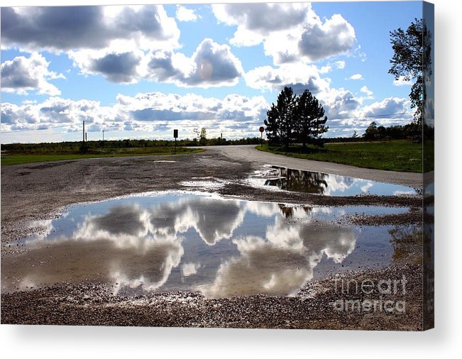 Puddle Acrylic Print featuring the photograph Cloud Reflection In Puddle by Samiksa Art