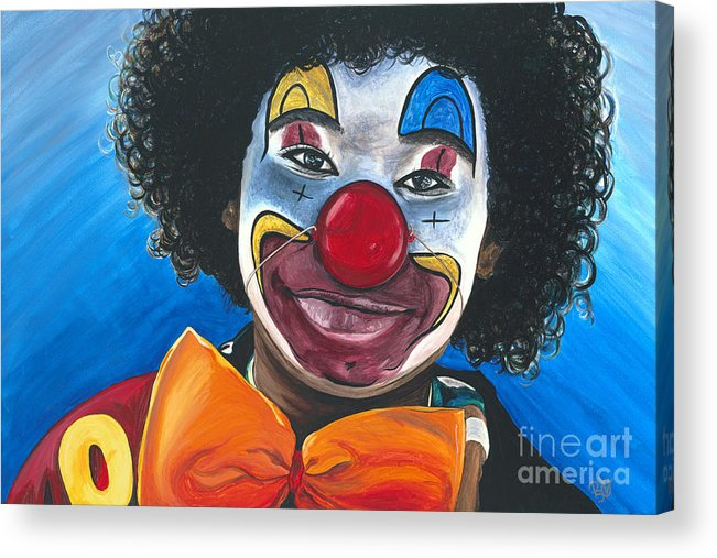 Clown Acrylic Print featuring the painting Clowning Around by Patty Vicknair