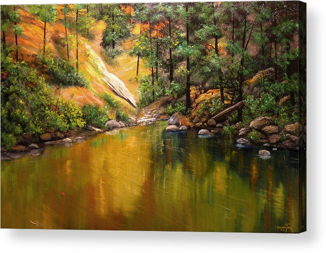 Connie Tom Acrylic Print featuring the painting Cold Water Creek II by Connie Tom