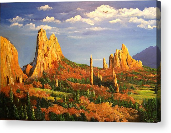 Connie Tom Acrylic Print featuring the painting Colorado Red Rocks by Connie Tom