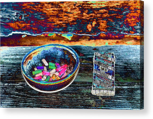 Eraser Acrylic Print featuring the photograph Colored Chalk by Karen Wagner