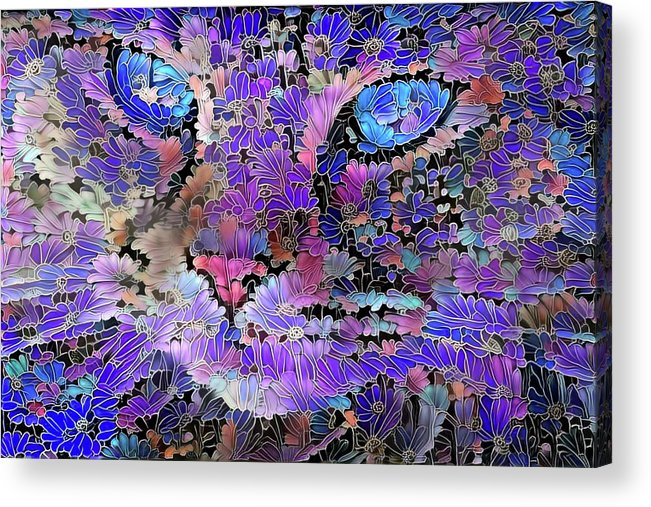 Colorful Cat Acrylic Print featuring the digital art Flower Cat 2 by Peggy Collins
