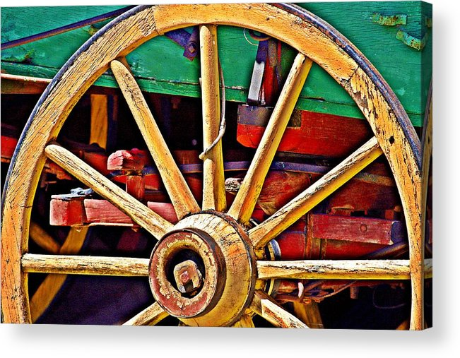 Wagon Wheel Acrylic Print featuring the photograph Colorful Wagon Wheel- Fine Art by KayeCee Spain