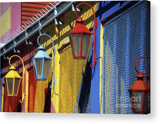 Buenos Aires Acrylic Print featuring the photograph Colourful Lamps La Boca Buenos Aires by James Brunker