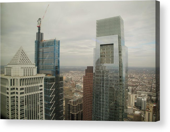 Comcast Technology Center Acrylic Print featuring the photograph Comcast Technology Center Bny Mellon Center And Comcast Center by Bill Cannon