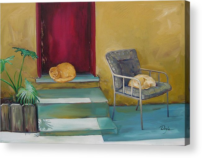 Cat Acrylic Print featuring the painting Companions by Karen Doyle