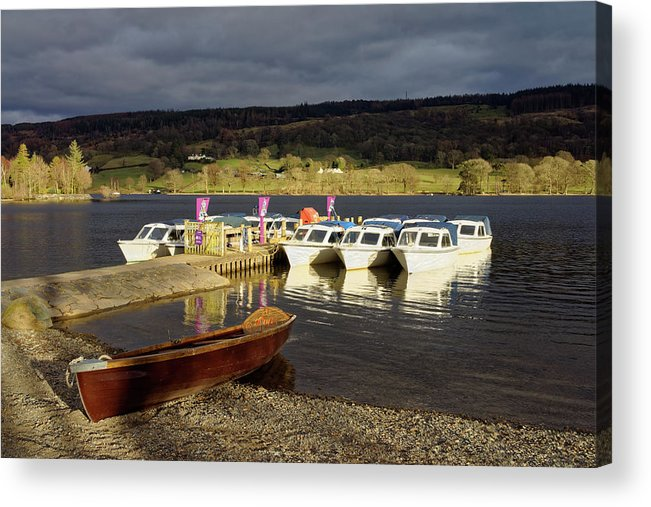 Lake District Acrylic Print featuring the photograph Coniston Water Boats by Darren Galpin