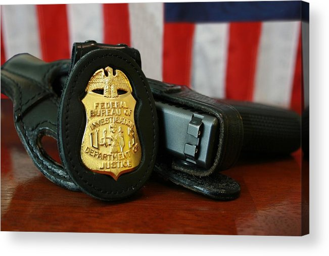 History Acrylic Print featuring the photograph Contemporary Fbi Badge And Gun by Everett