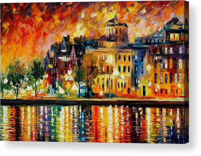 City Acrylic Print featuring the painting Copenhagen Original Oil Painting by Leonid Afremov