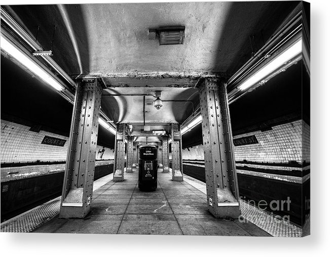 Symmetry Acrylic Print featuring the photograph Court Street Subway by Edi Chen