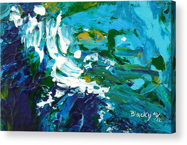 Bold Abstract Acrylic Print featuring the painting Crashing Wave by Donna Blackhall