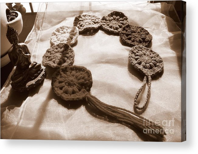 Crochet Acrylic Print featuring the photograph Crochet Chakras And Buddha by Samiksa Art