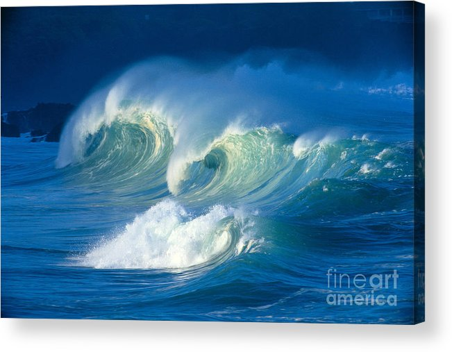 Aqua Acrylic Print featuring the photograph Curling White Caps by Vince Cavataio - Printscapes