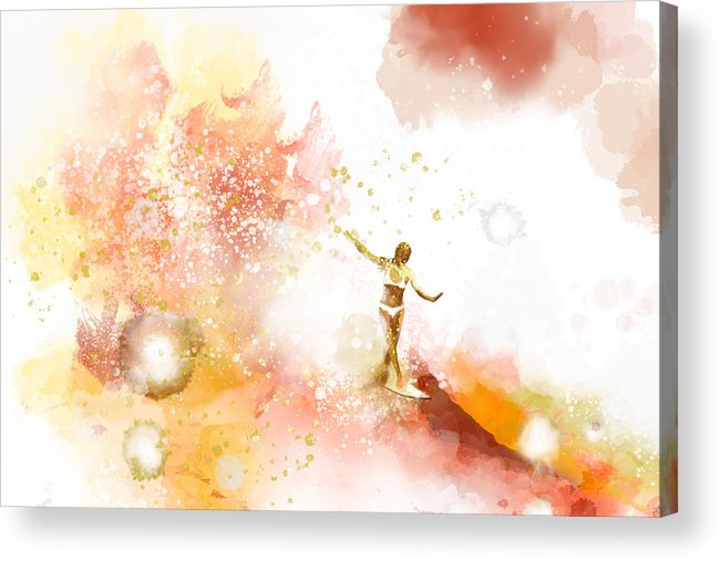 Water Acrylic Print featuring the painting Dancer On Water 2 by Nelson Ruger