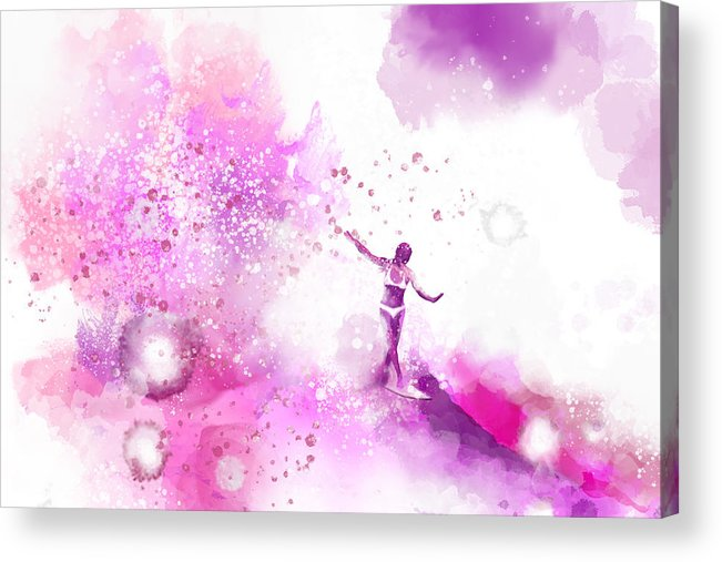 Water Acrylic Print featuring the painting Dancer On Water 4 by Nelson Ruger