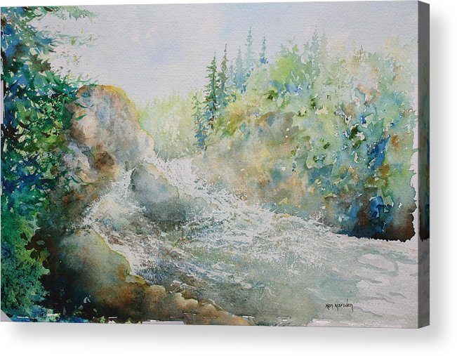 Waterfall Acrylic Print featuring the painting Dave's Falls by Ken Marsden