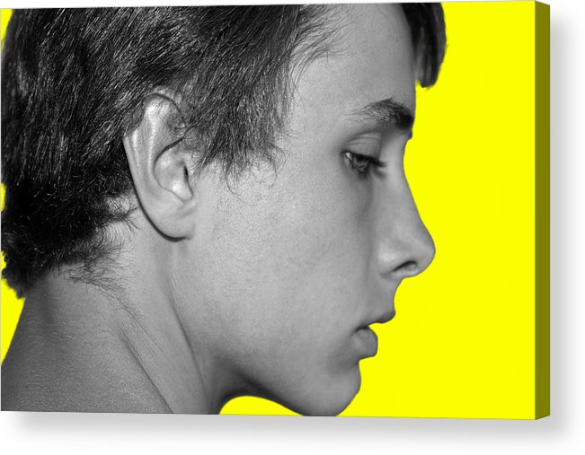 Acrylic Print featuring the photograph David R On Yellow by Michael Taggart