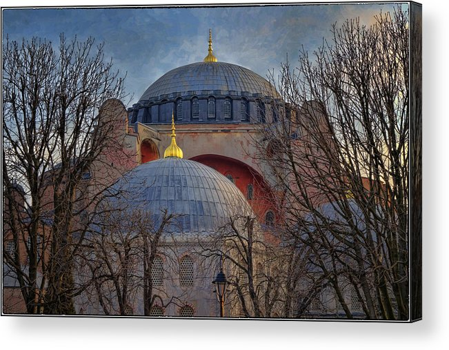 Hagia Sophia Acrylic Print featuring the photograph Dawn Over Hagia Sophia by Joan Carroll